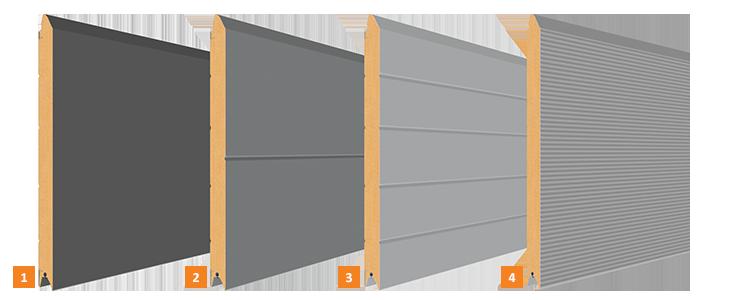 Wzory przetłoczeń w bramie segmentowej garażowej