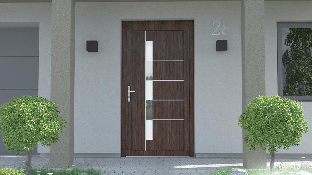 Drzwi zewnętrzne PVC z panelem wsadowym