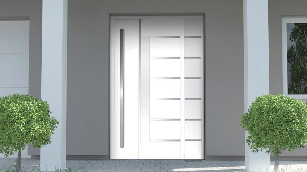 Drzwi zewnętrzne aluminiowe z dostawką