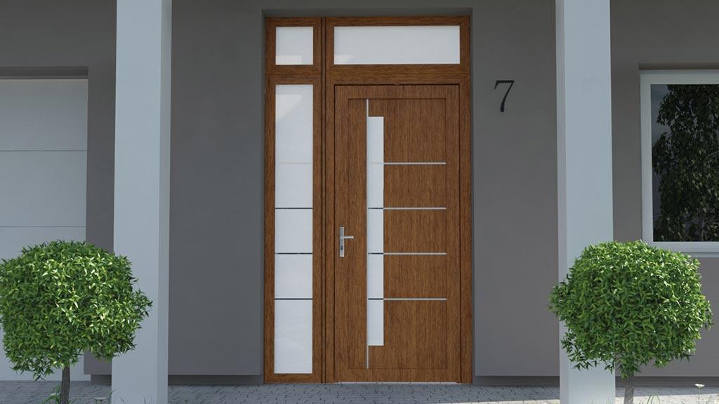 Drzwi zewnętrzne wsadowe PVC z dostawką i naświetlem