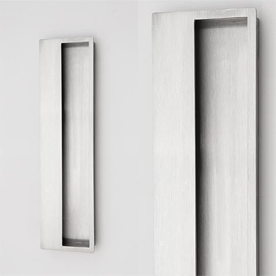 Pochwyt wpuszczany prostokątny do drzwi zewnętrznych aluminiowych