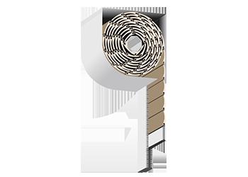 Roleta zewnętrzna adaptacyjna w skrzynce ćwierć-okrągłej