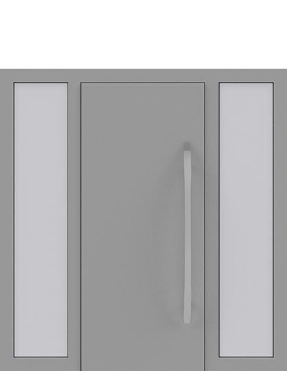 Drzwi zewnętrzne jednoskrzydłowe z dostawką po obu stronach