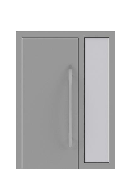 Drzwi zewnętrzne jednoskrzydłowe z dostawką po prawej stronie