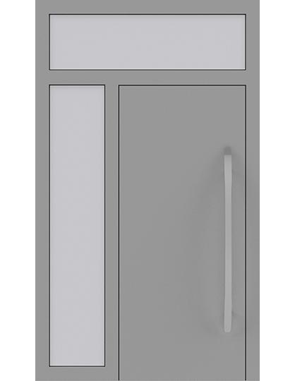 Drzwi zewnętrzne jednoskrzydłowe z naświetlem i dostawką po lewej stronie