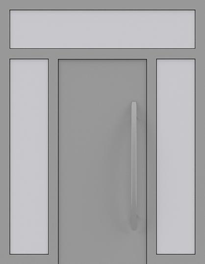 Drzwi zewnętrzne jednoskrzydłowe z naświetlem i dostawką po obu stronach