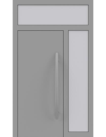 Drzwi zewnętrzne jednoskrzydłowe z naświetlem i dostawką po prawej stronie