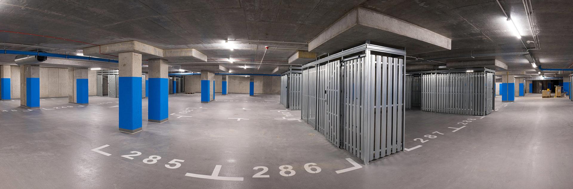 Garaże podziemne z komórkami lokatorskimi